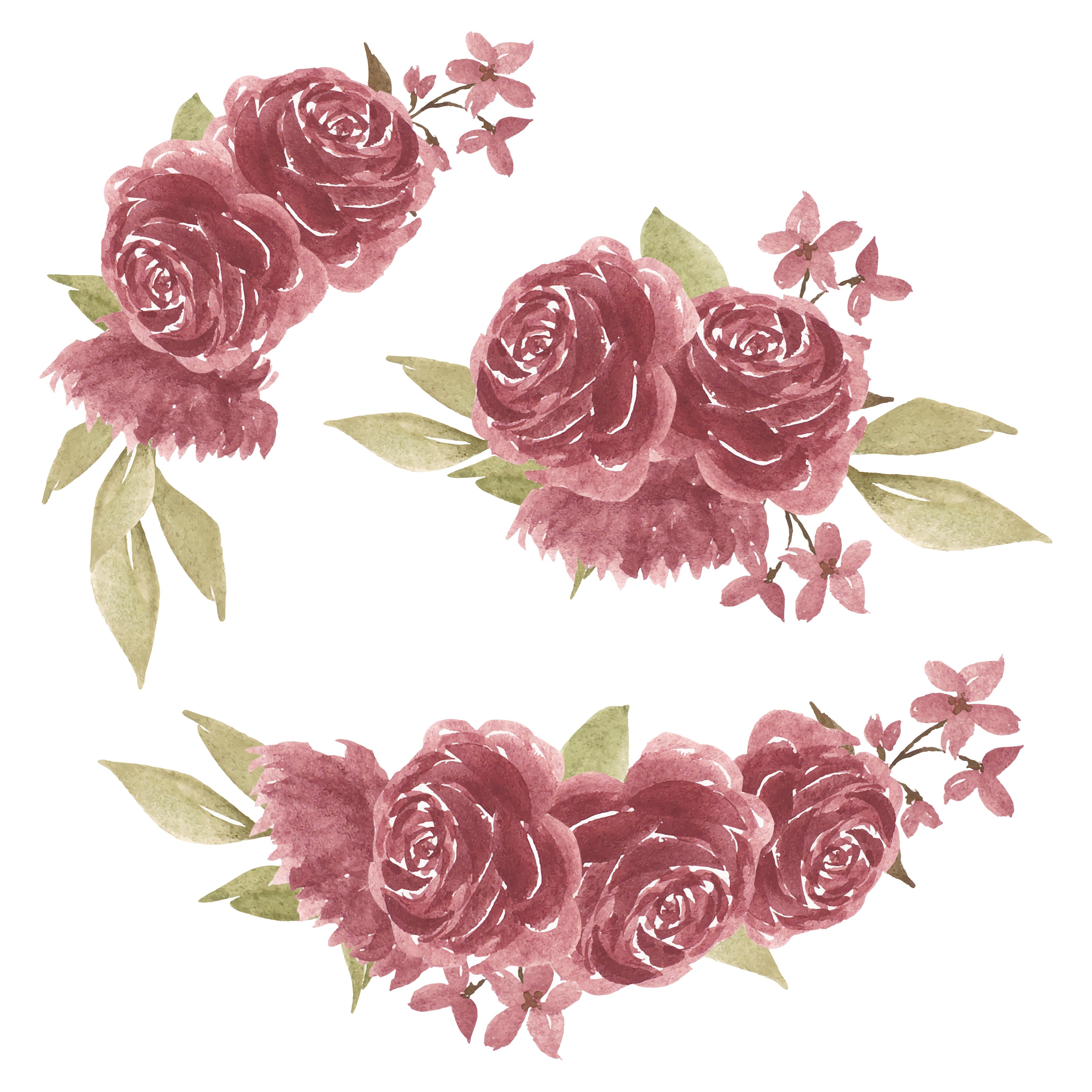Set Of Watercolor Rose Flower Arrangements