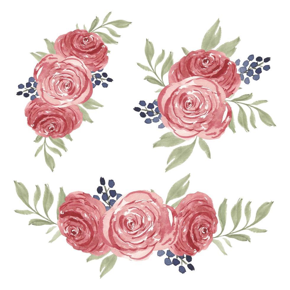 coleção de buquê de flores em aquarela com rosas vetor