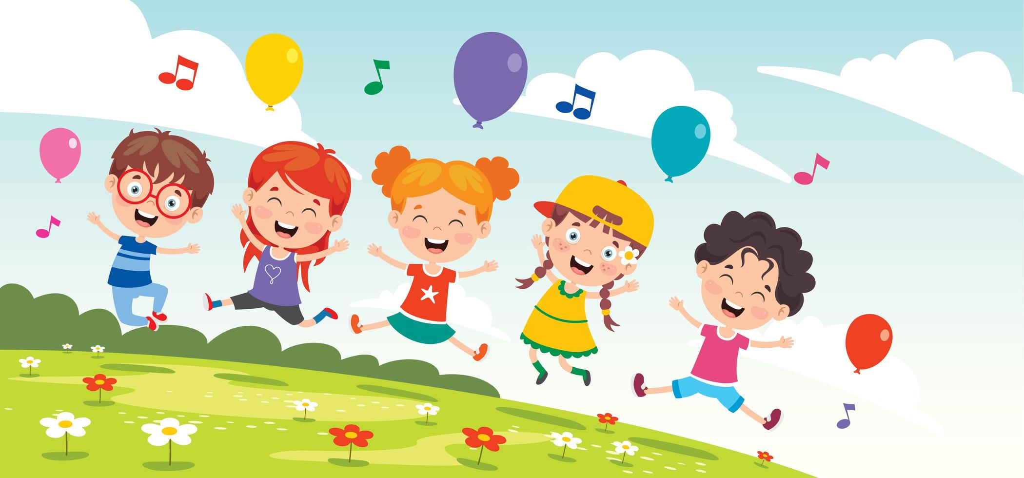 Happy Kids Outside Singing vector