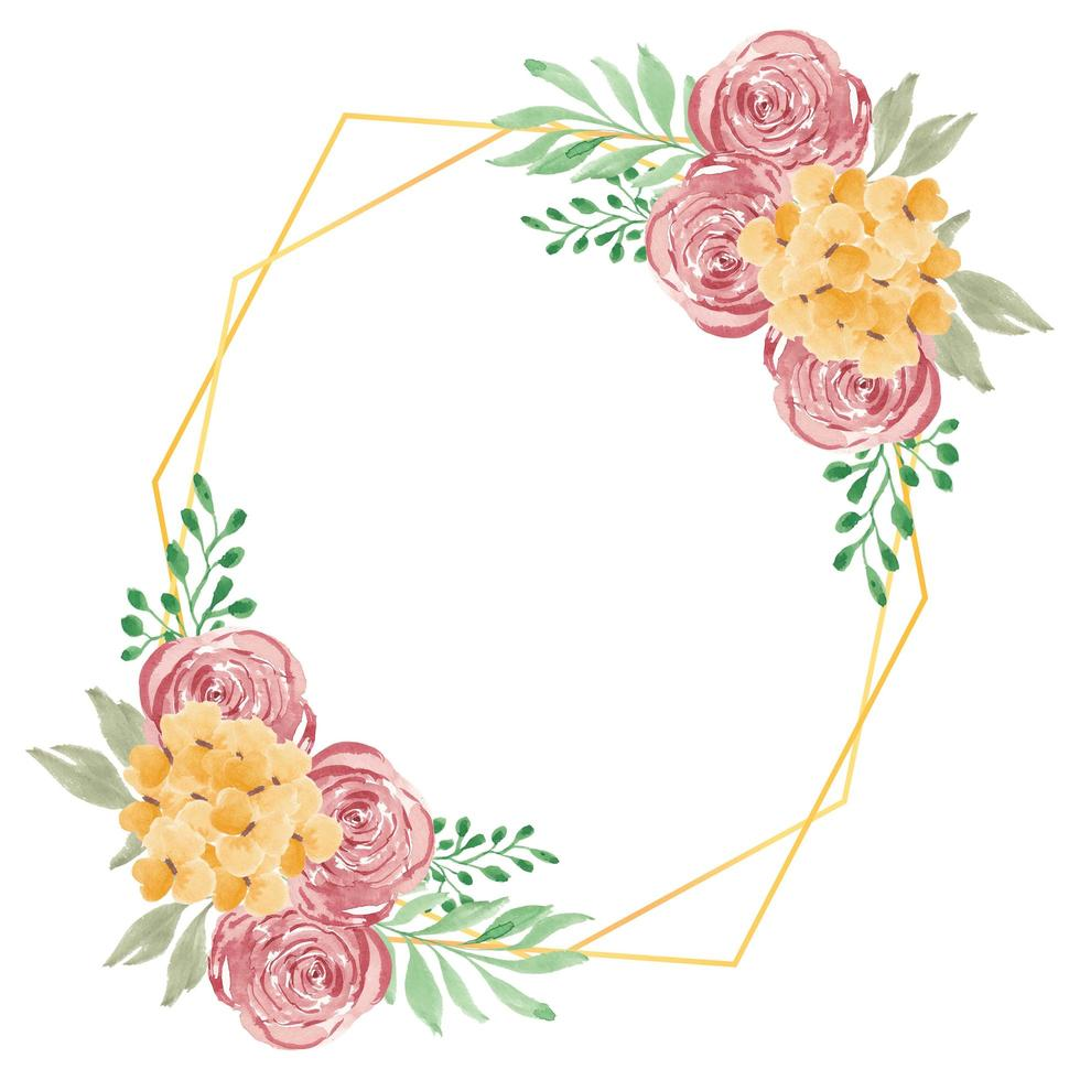 Watercolor rustic rose floral with golden frame vector