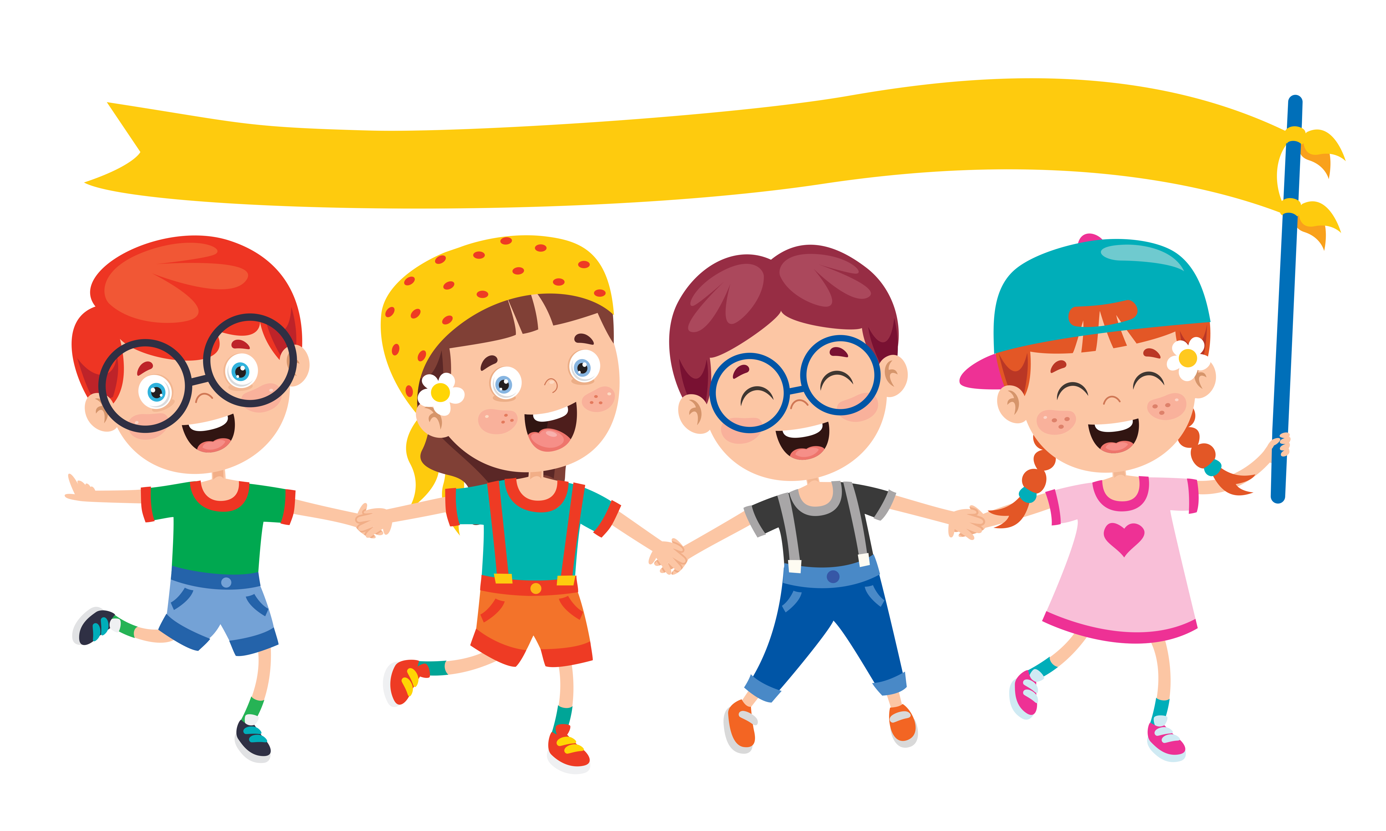 Children Having Fun And Holding Yellow Banner Download Free Vectors Clipart Graphics Vector Art