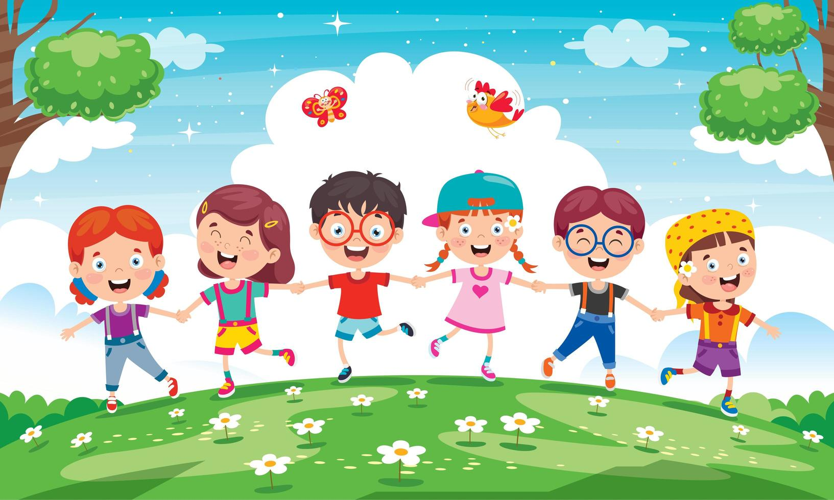 Little Children Playing Outside in Meadow vector