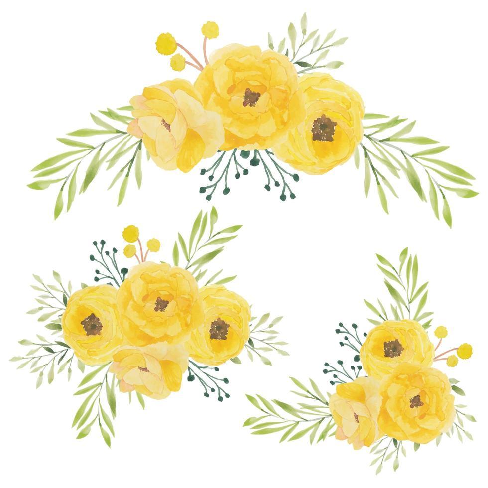 Watercolor yellow rose flower bouquet set vector