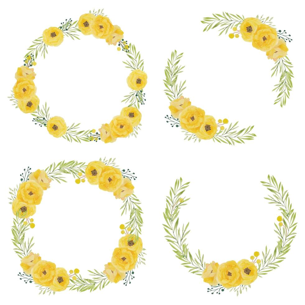 Set of watercolor yellow rose flower circle frames vector