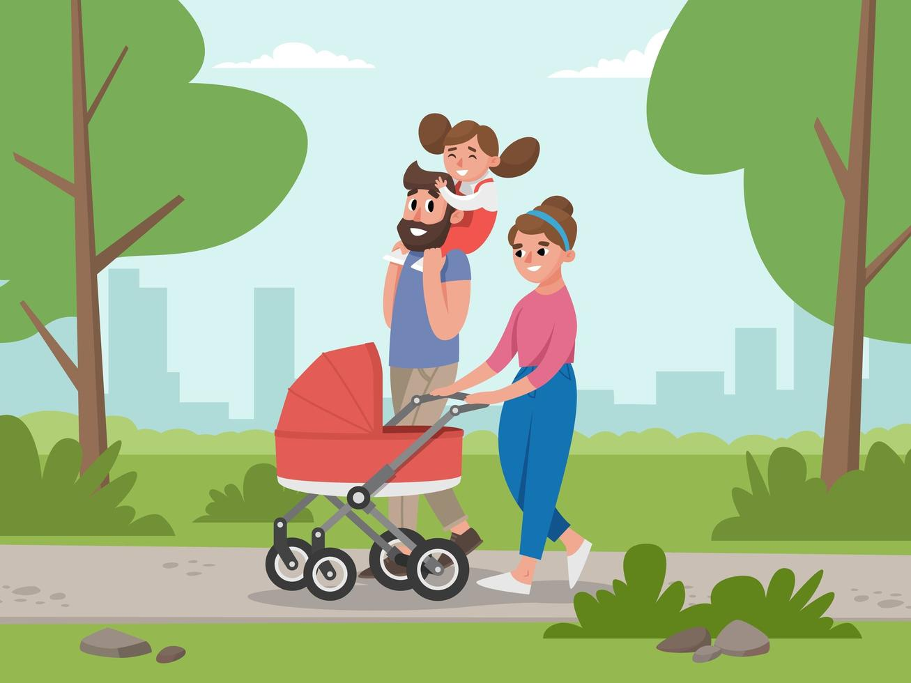 Young Family for Walk in Park vector