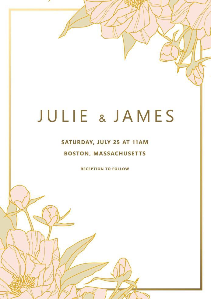 Invitación de boda con esquinas de peonía y marco dorado vector