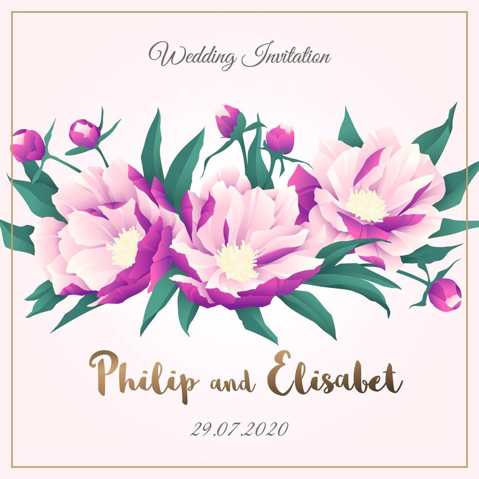 Wedding Invitation with Peonies vector
