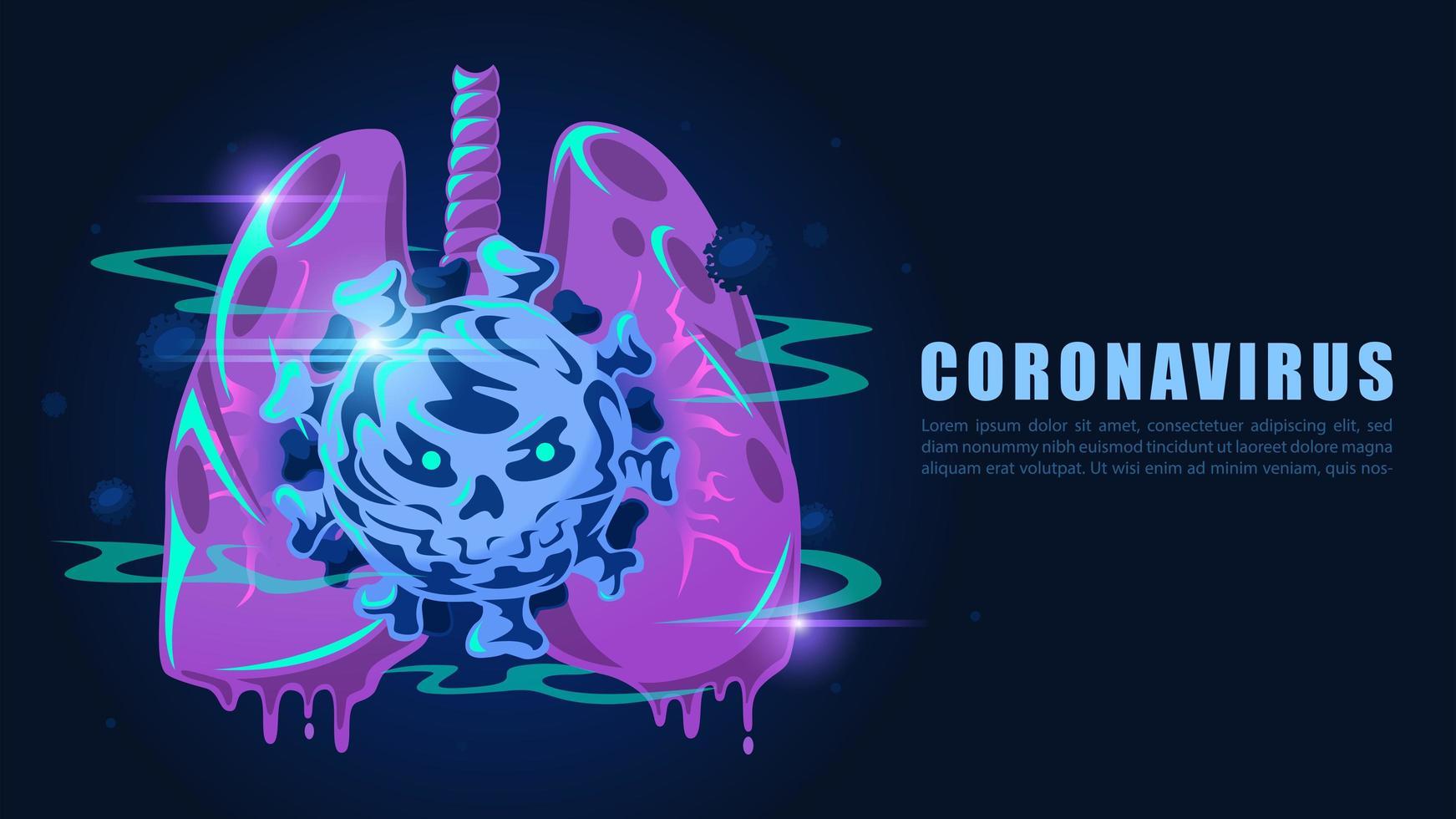 pulmones de estilo de dibujos animados infectados por coronavirus vector