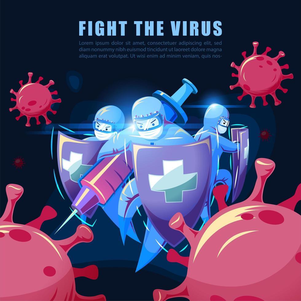 equipo médico luchando contra el virus vector