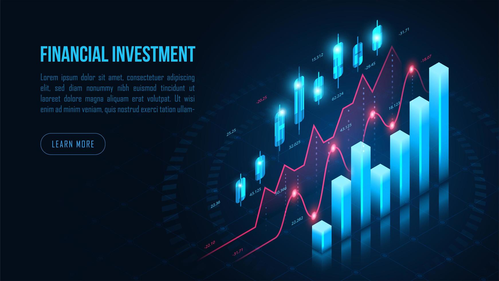 Glowing isometric stock or forex trading graph vector