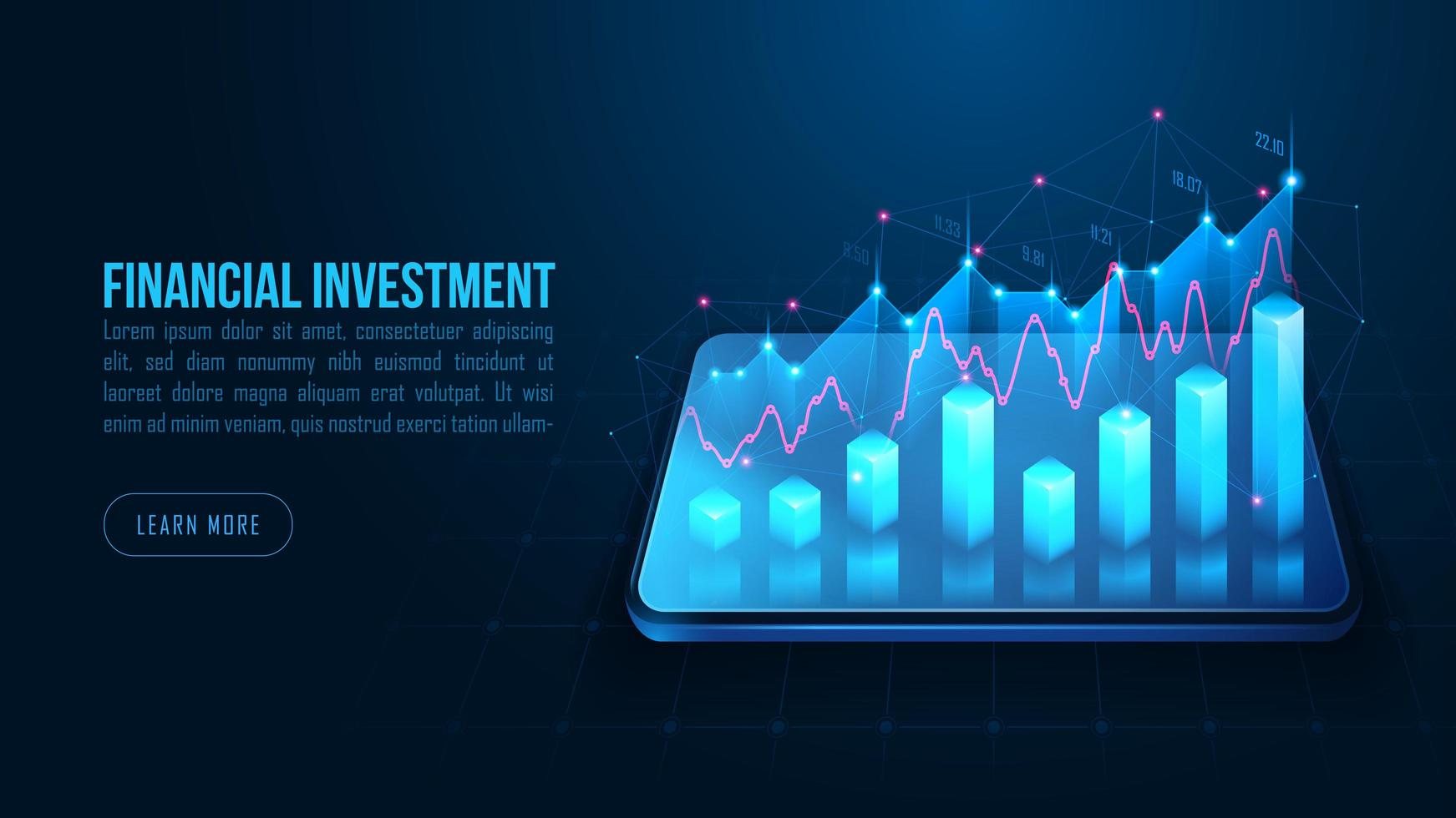 Isometric stock or forex trading graph on smartphone vector