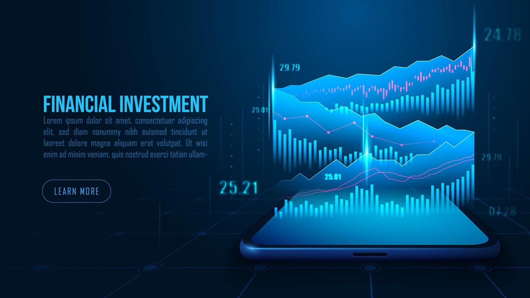 Isometric stock or forex trading chart on smartphone vector
