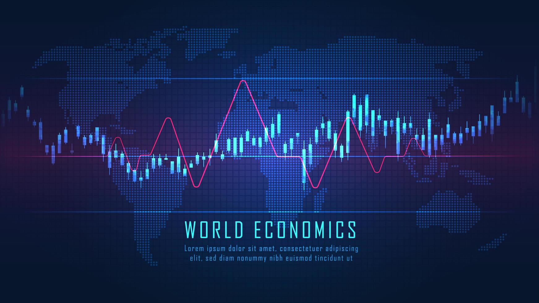 Futuristic world map with graph vector