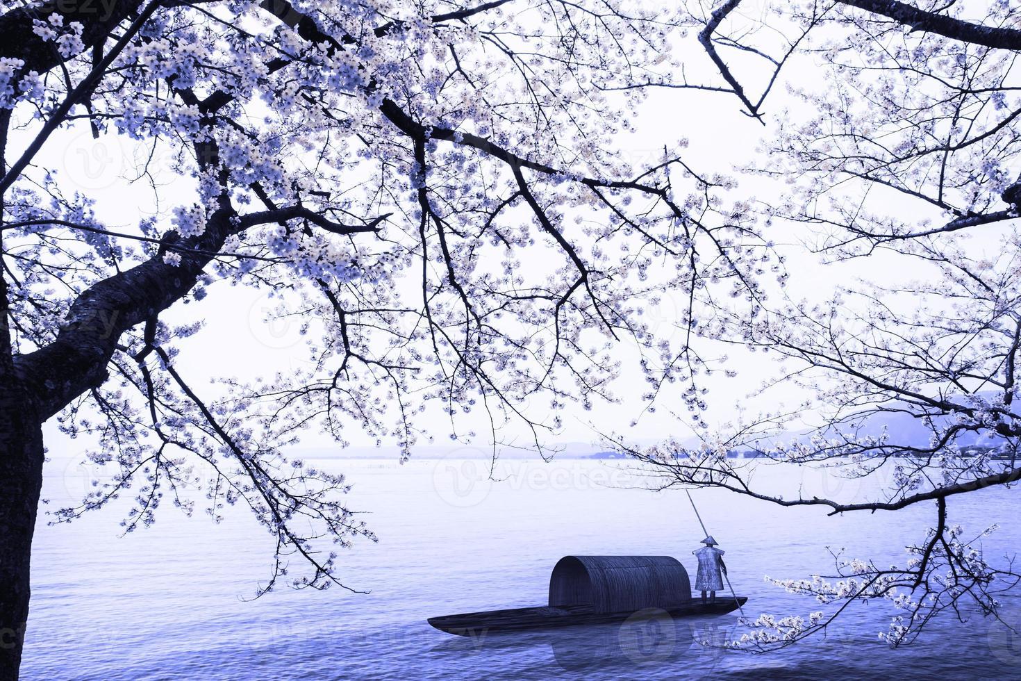 Temporada de Sakura en Kaizu Osaki, Japón foto