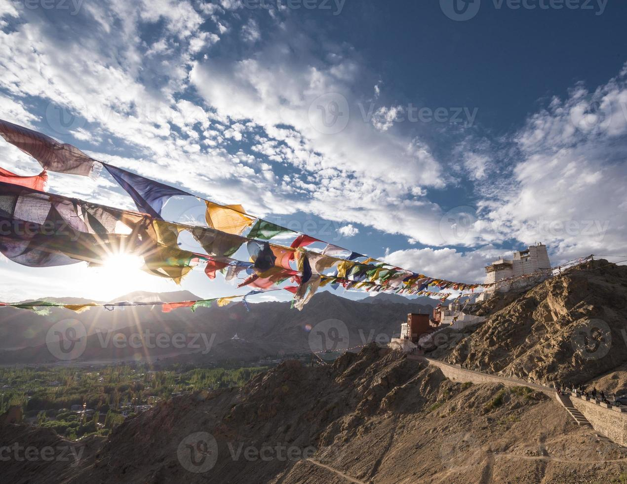 Namgyal Tsemo Gompa prayer flag photo