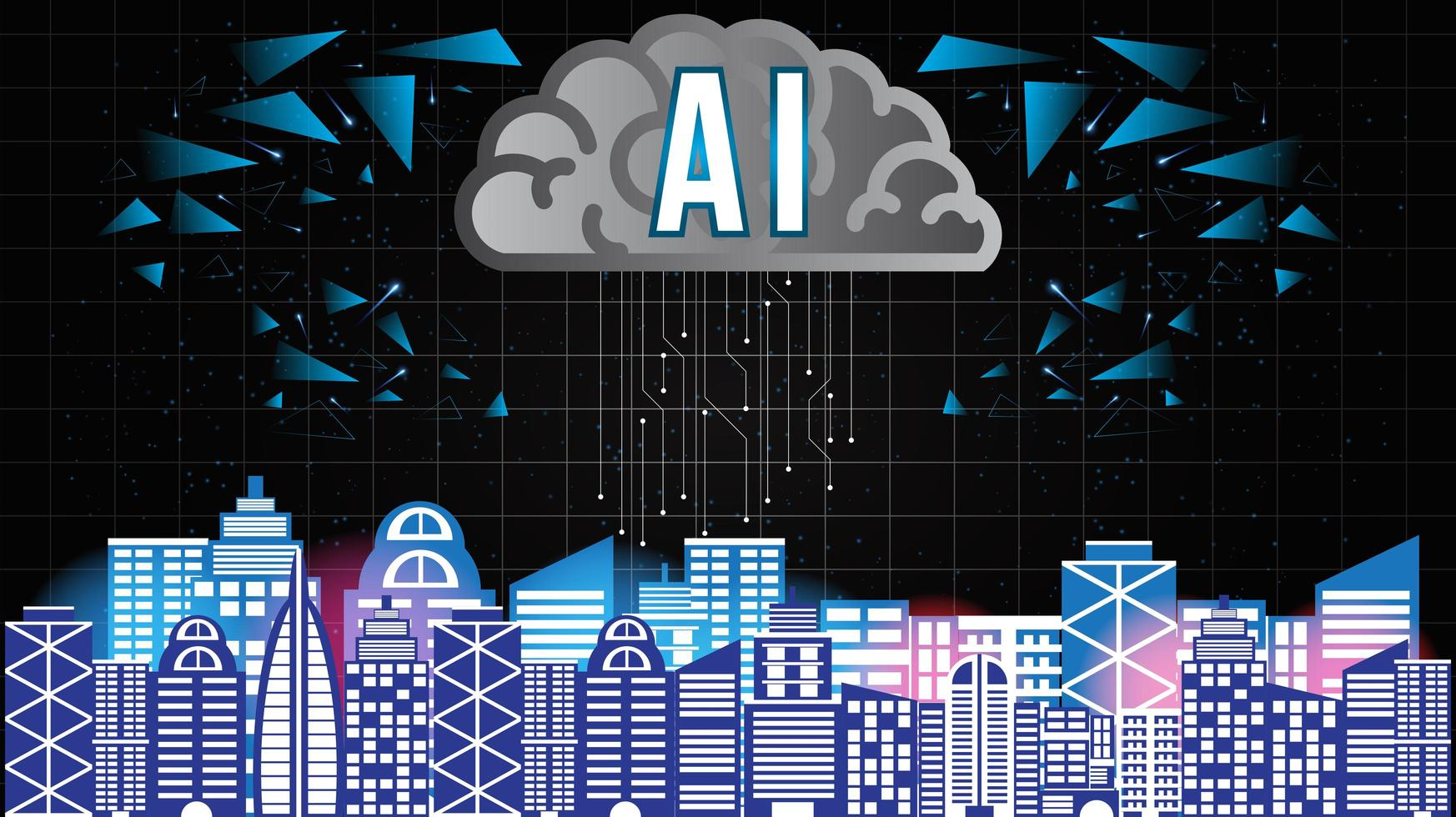 Artificial Intelligence Smart City vector