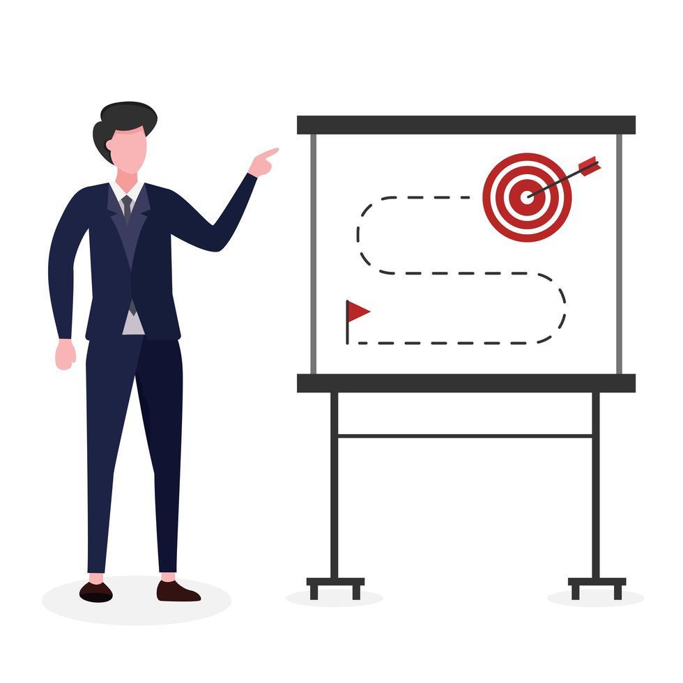 hombre de negocios explicando cómo lograr el objetivo vector