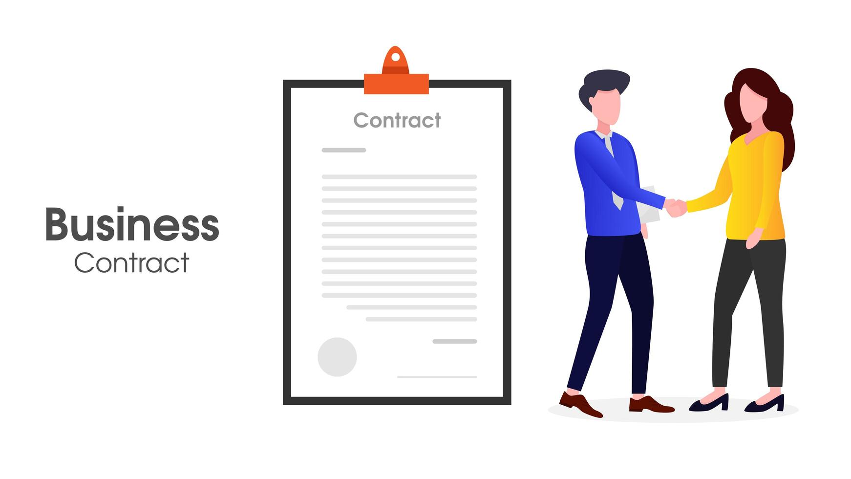 Two people doing business contracts vector