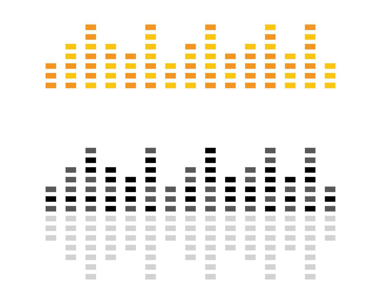 logotipos de ondas de sonido amarillas y negras vector
