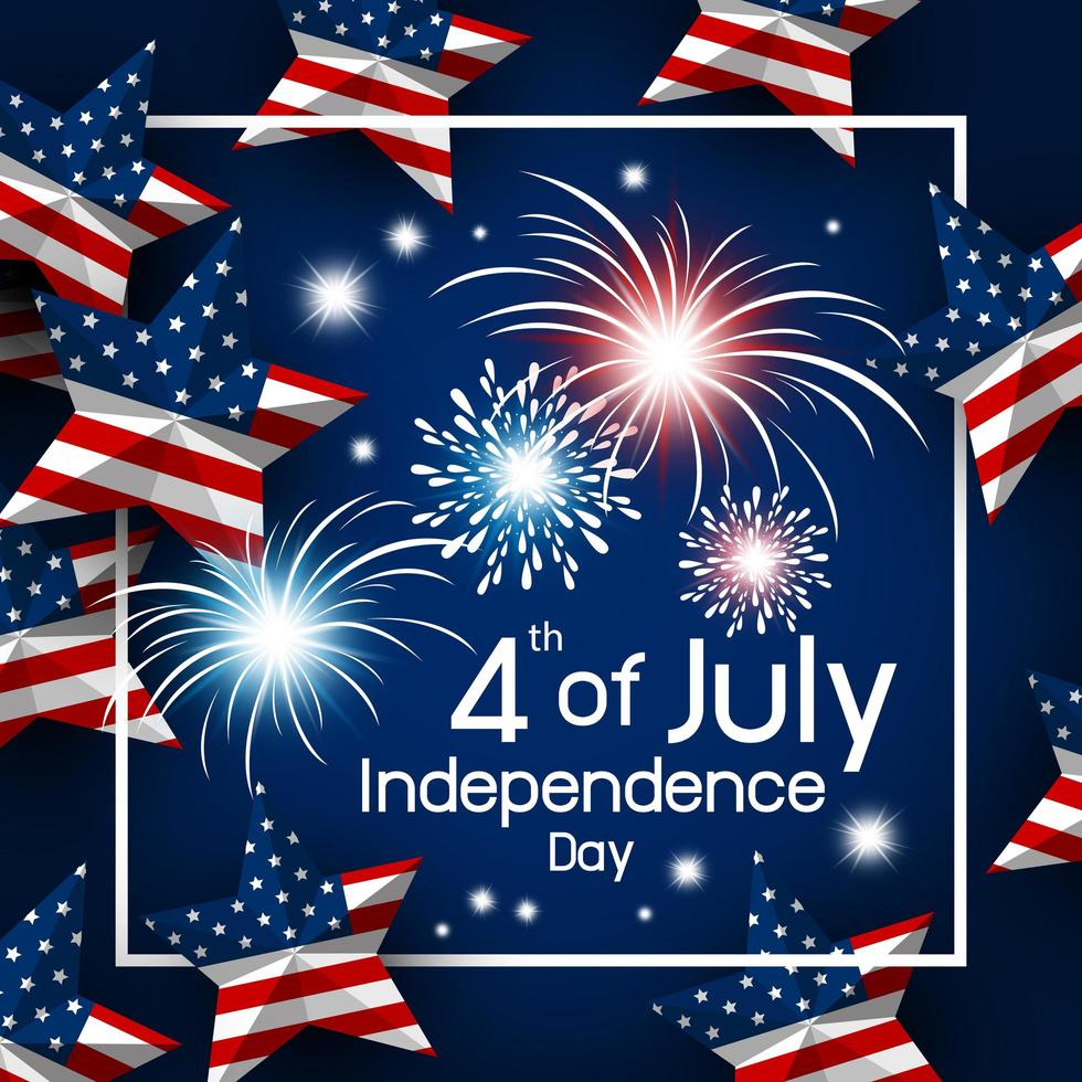 4 de julio diseño de estrella de bandera estadounidense vector