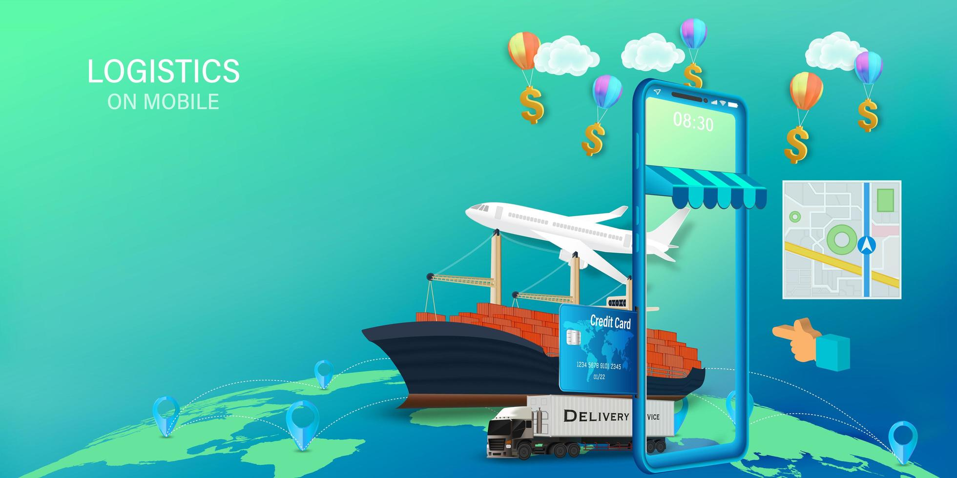 Logistics on mobile design with plane, ship and truck vector