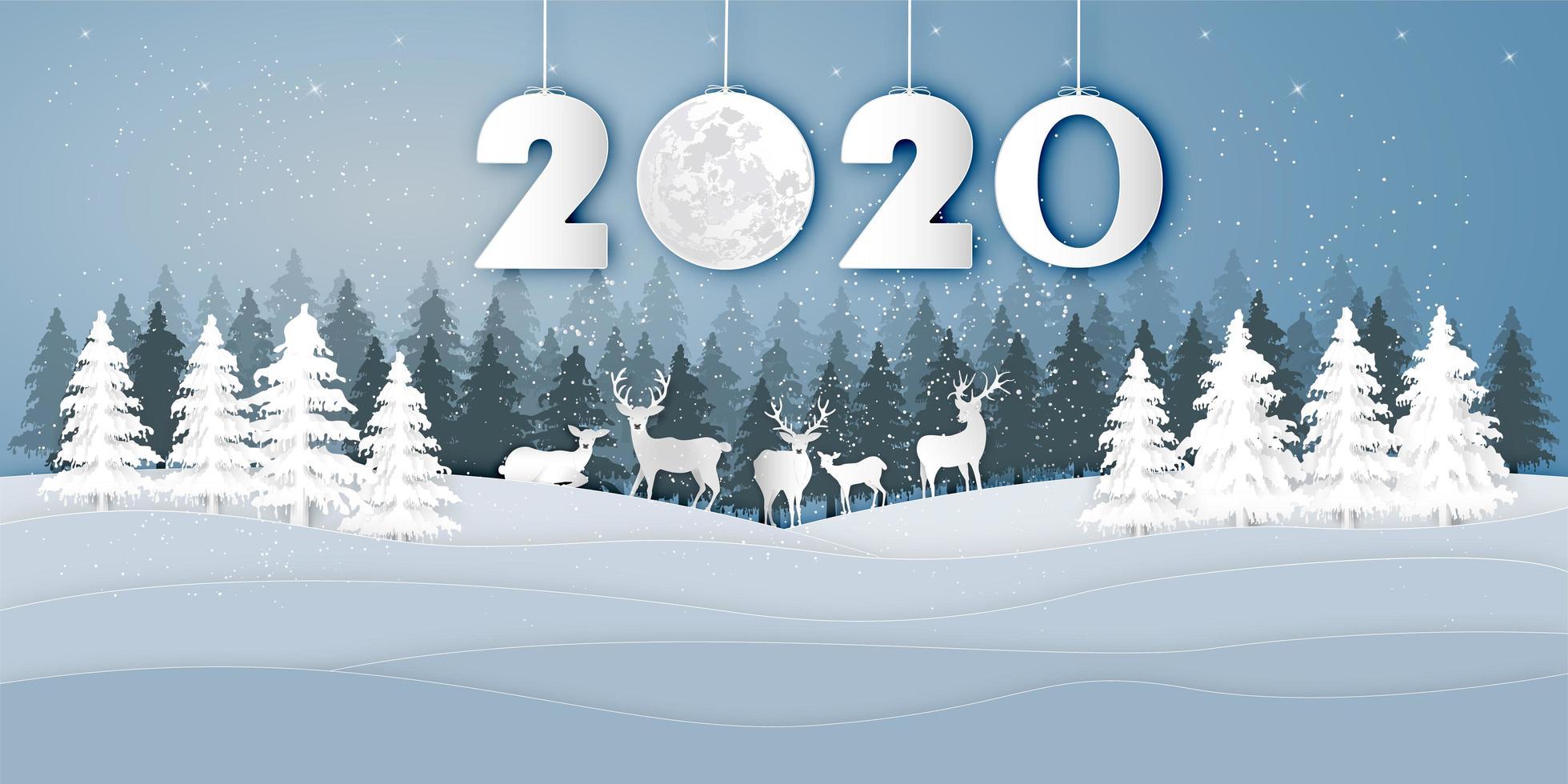 Winter landscape with deer under 2020 paper cut design vector