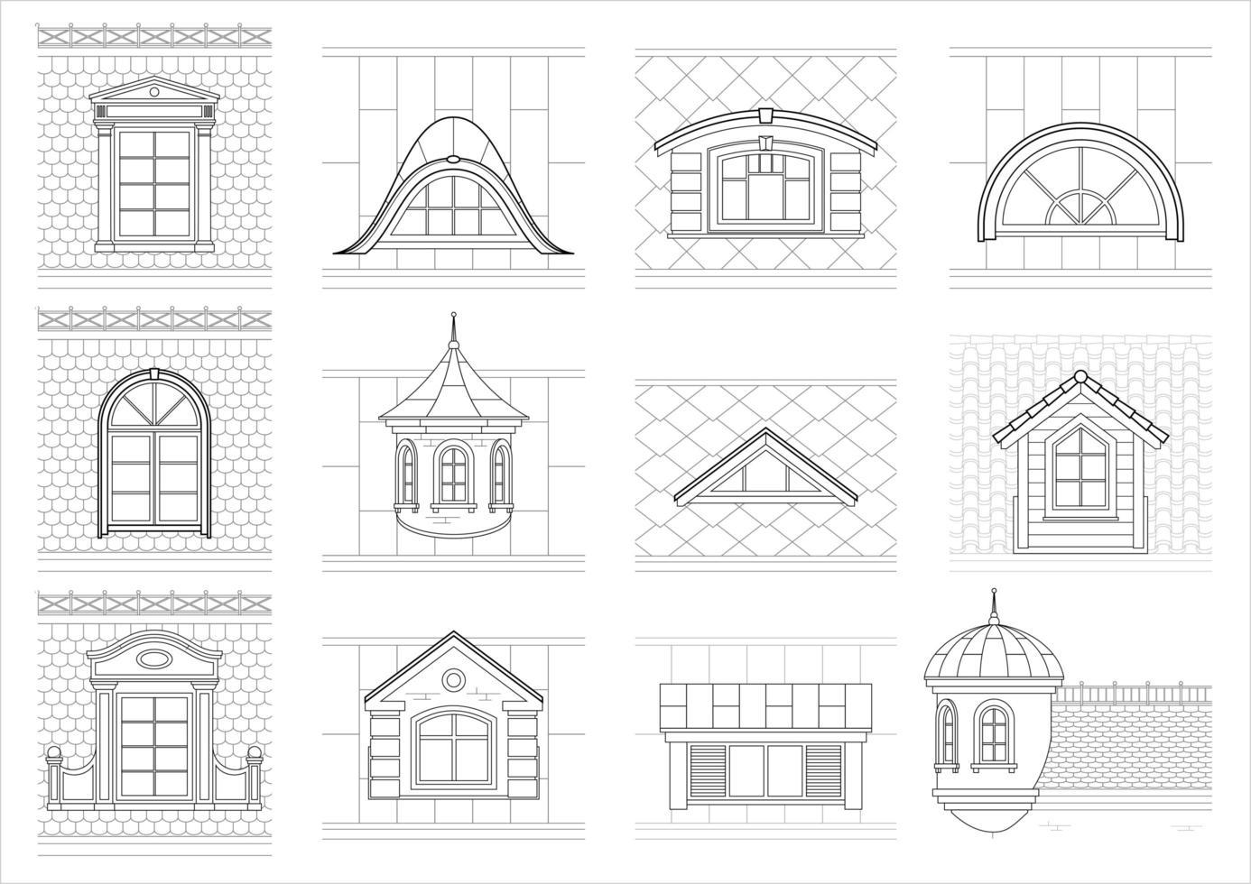 siluetas de tejados de la ciudad vector
