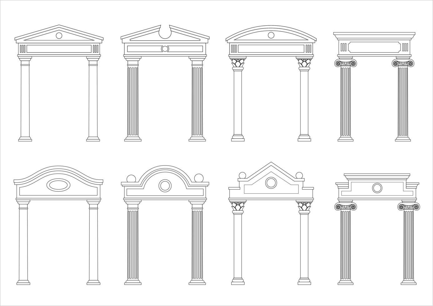 conjunto de siluetas de arcos clásicos de época vector