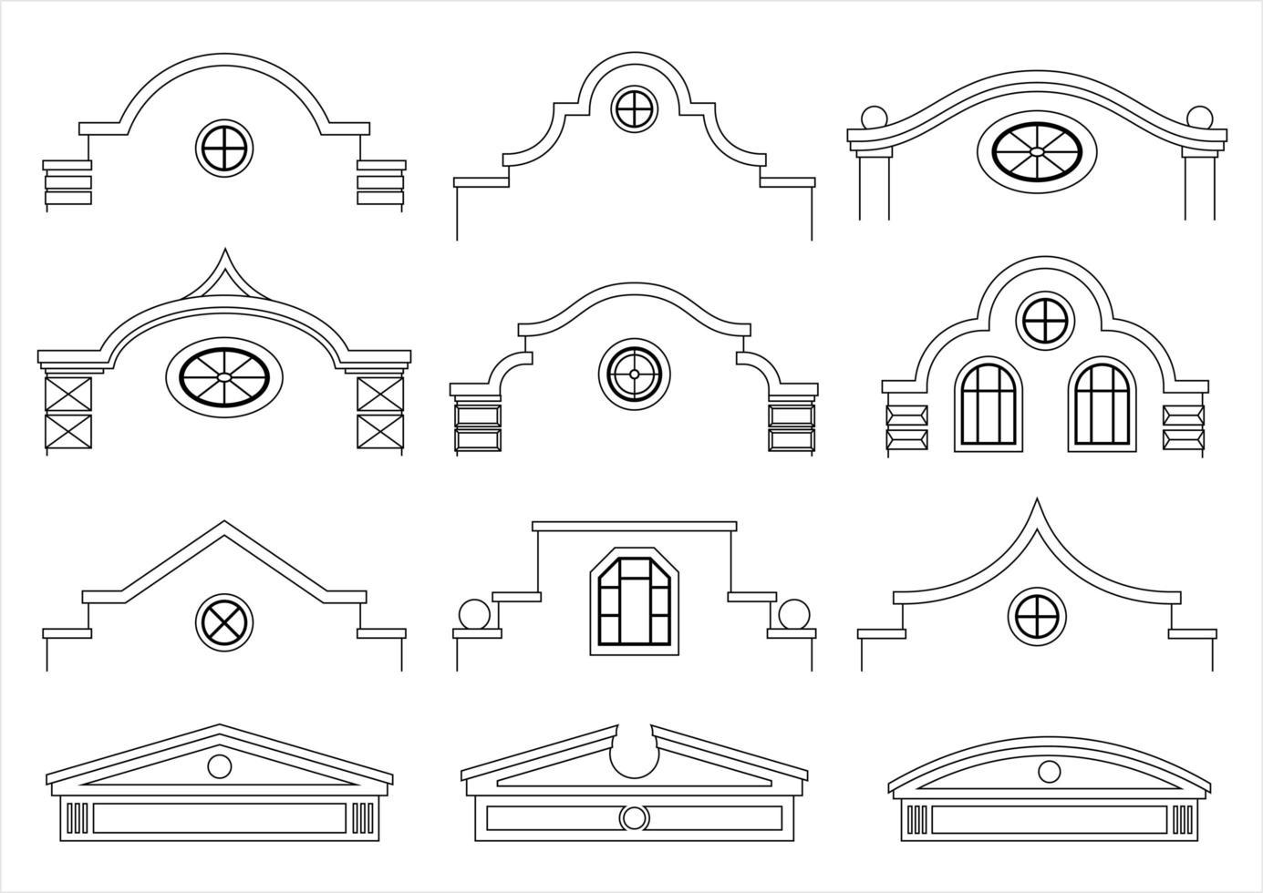 conjunto de fachadas clásicas vintage vector