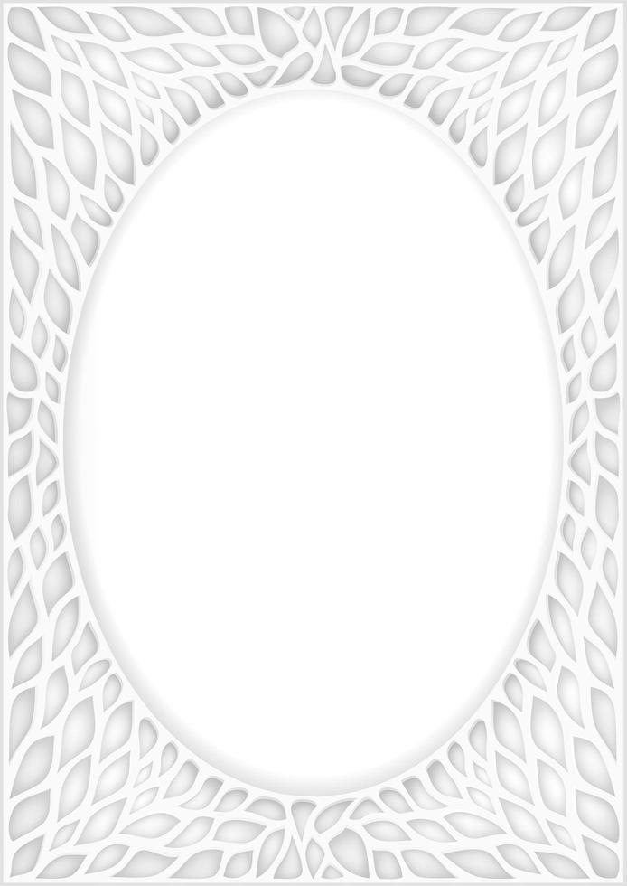 quadro oval oriental vintage branco vetor