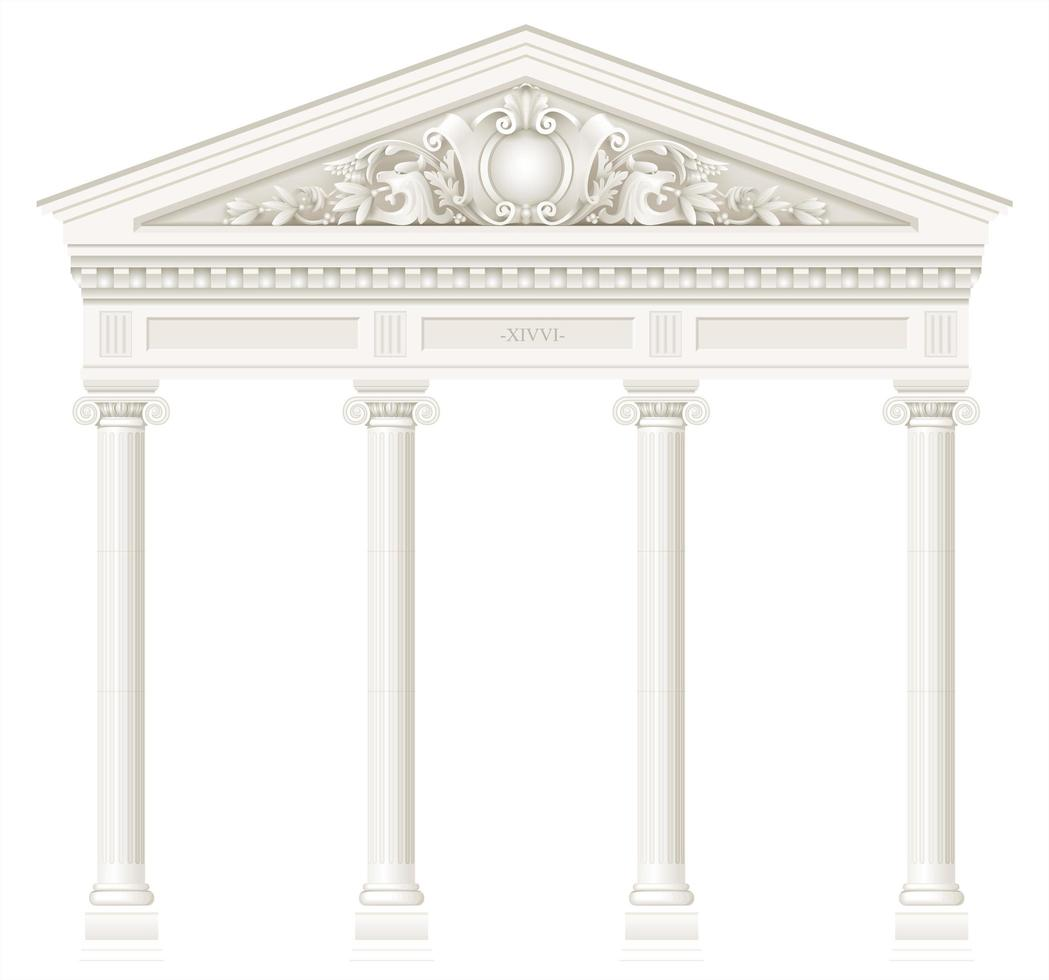 Antique white colonnade with ionic columns vector