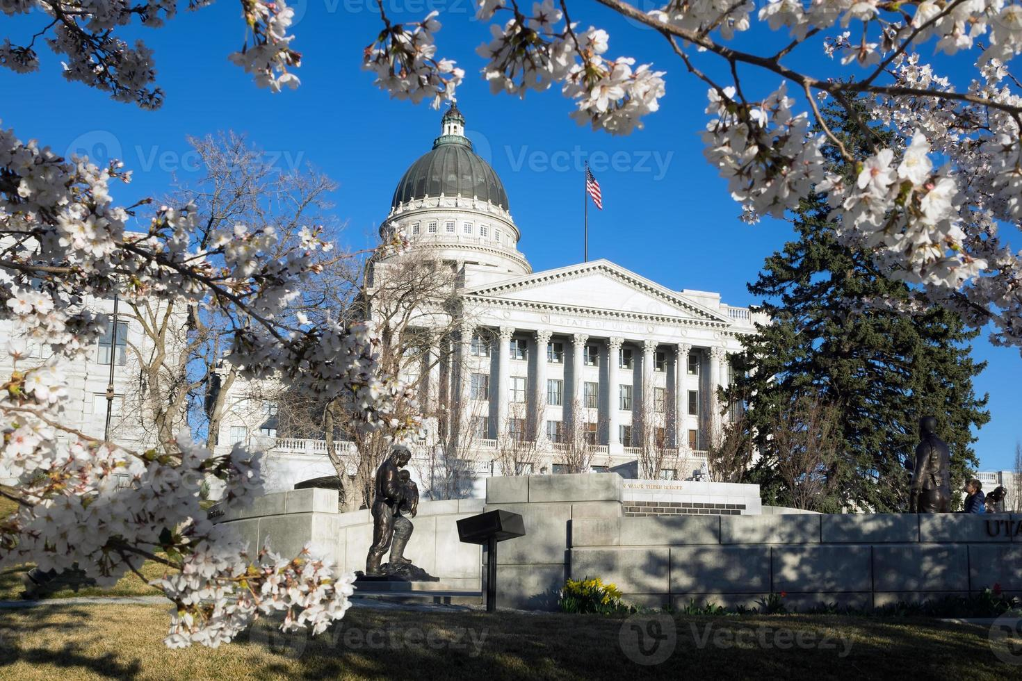 Capitol Building and cherry blossoms in Salt Lake City, Utah photo