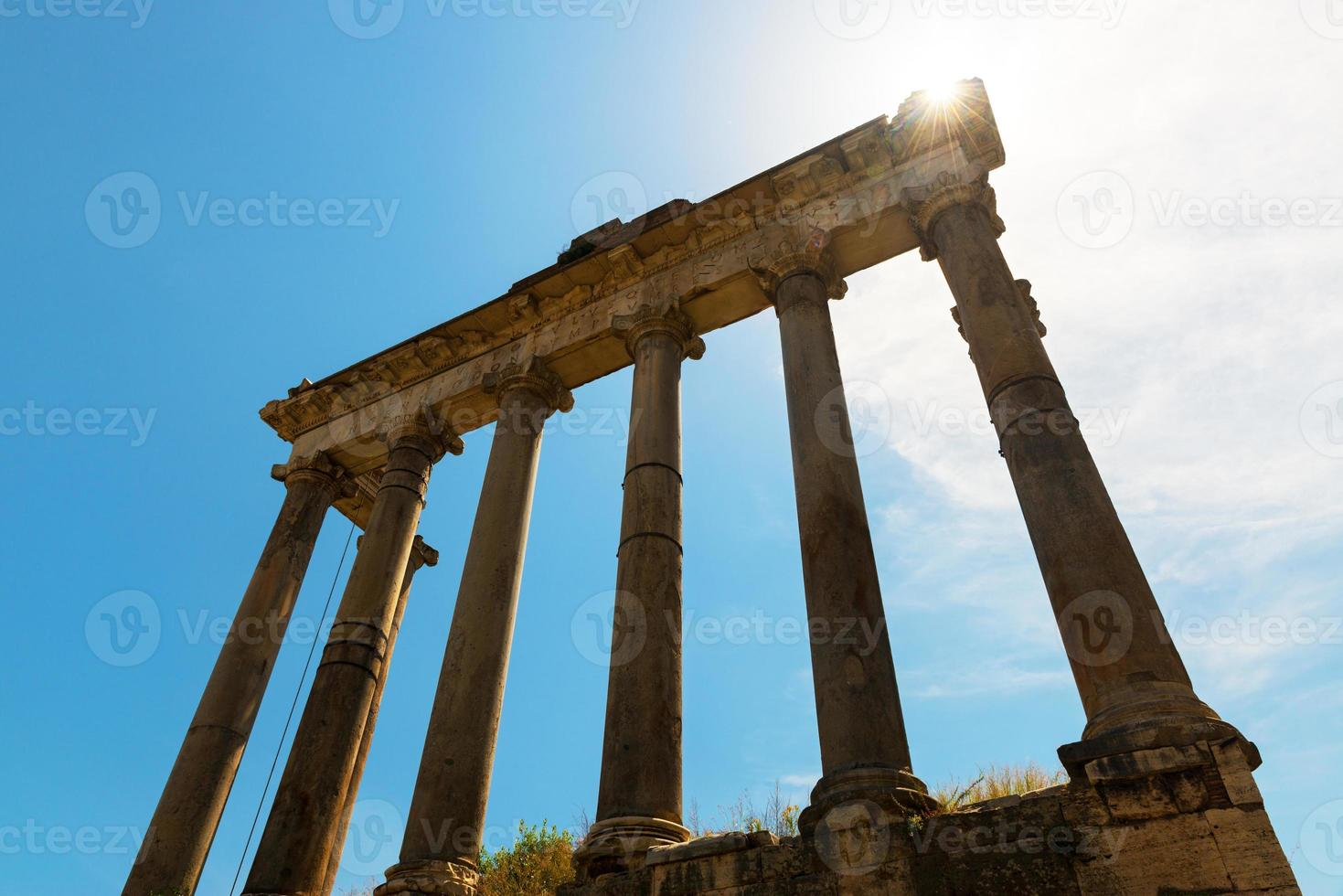 Ruins of Saturn temple in Roman Forum, Rome photo