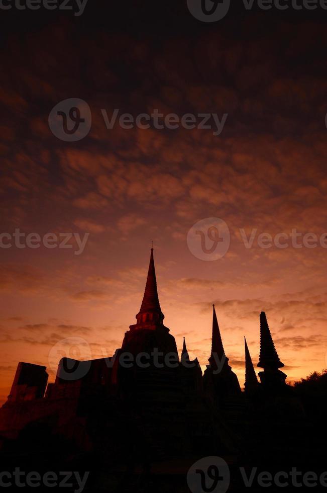 Silhouette of Wat Phra Sri Sanphet, Thailand photo