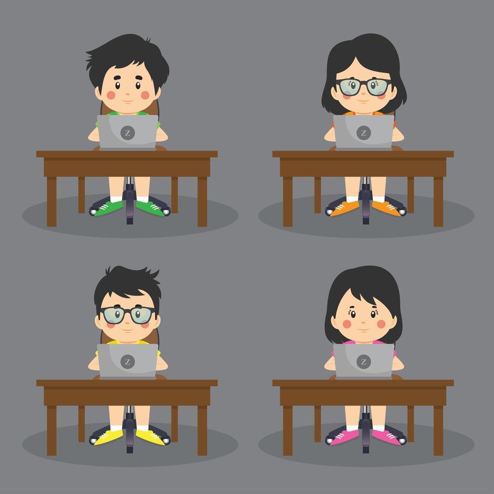 conjunto de niños en la computadora en el escritorio vector