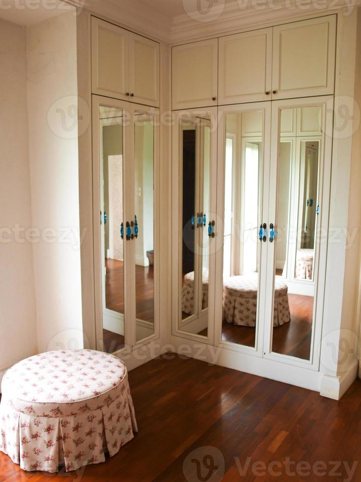 The interior of mirrored wardrobe with reflection of the background photo