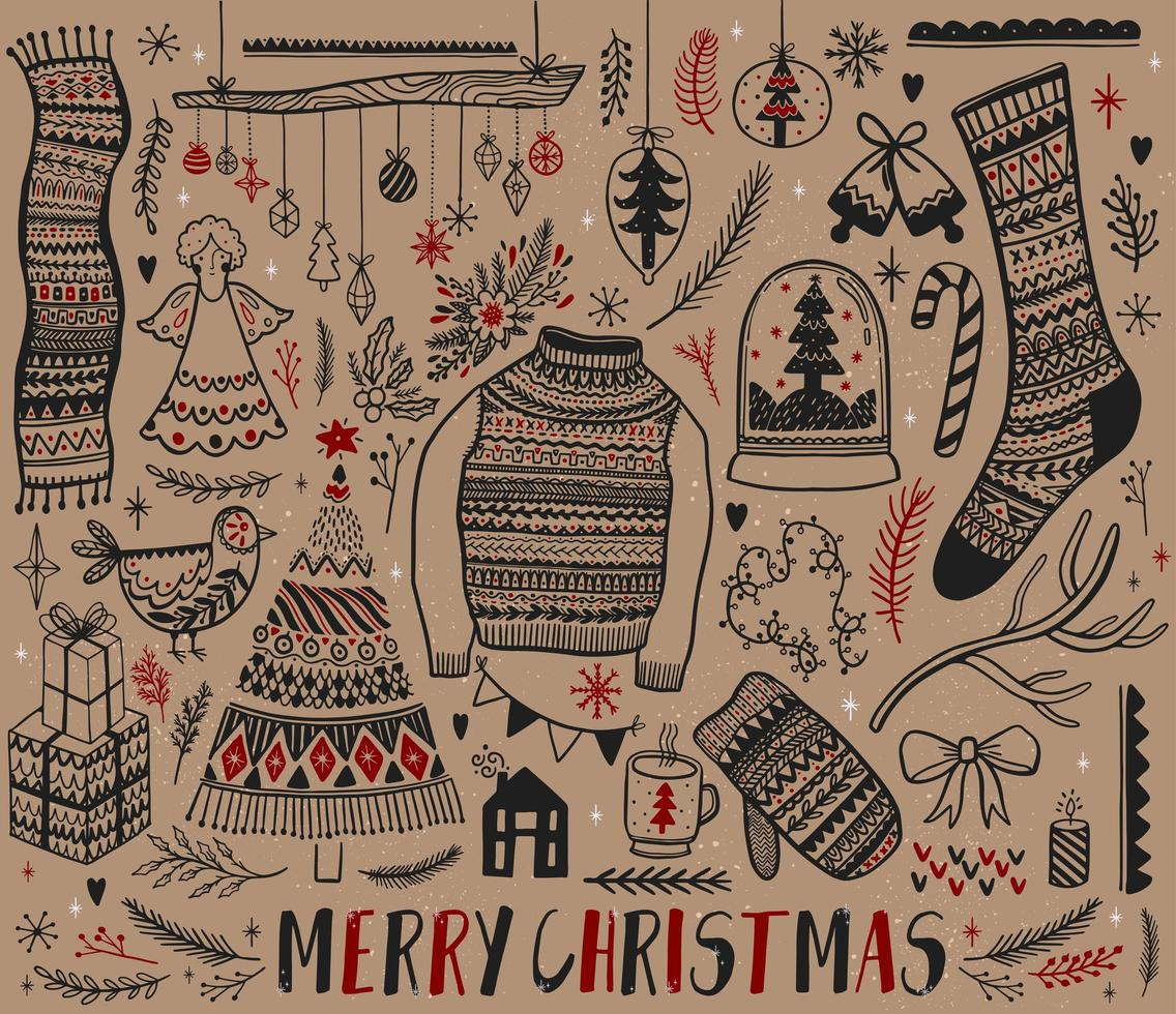 Set of hand drawn Christmas design elements vector
