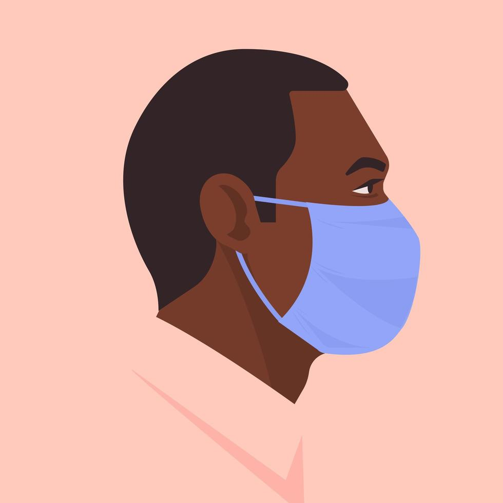 Portrait of Black Man Wearing a Face Mask vector