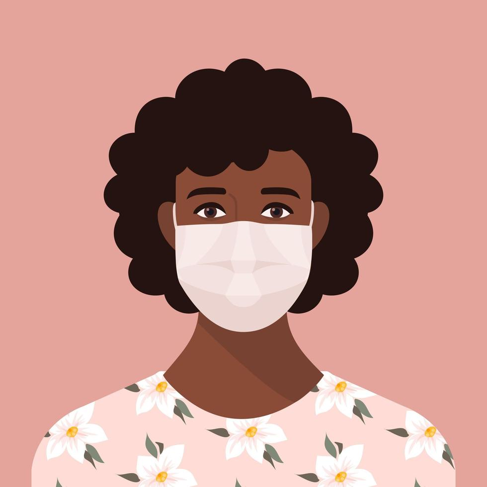 Portrait of a Black Woman Wearing a Face Mask vector