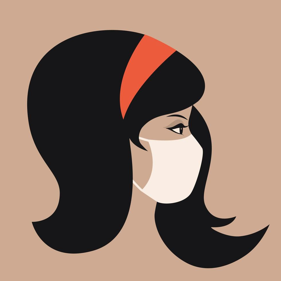 Portrait of Young Asian Woman Wearing Face Mask vector