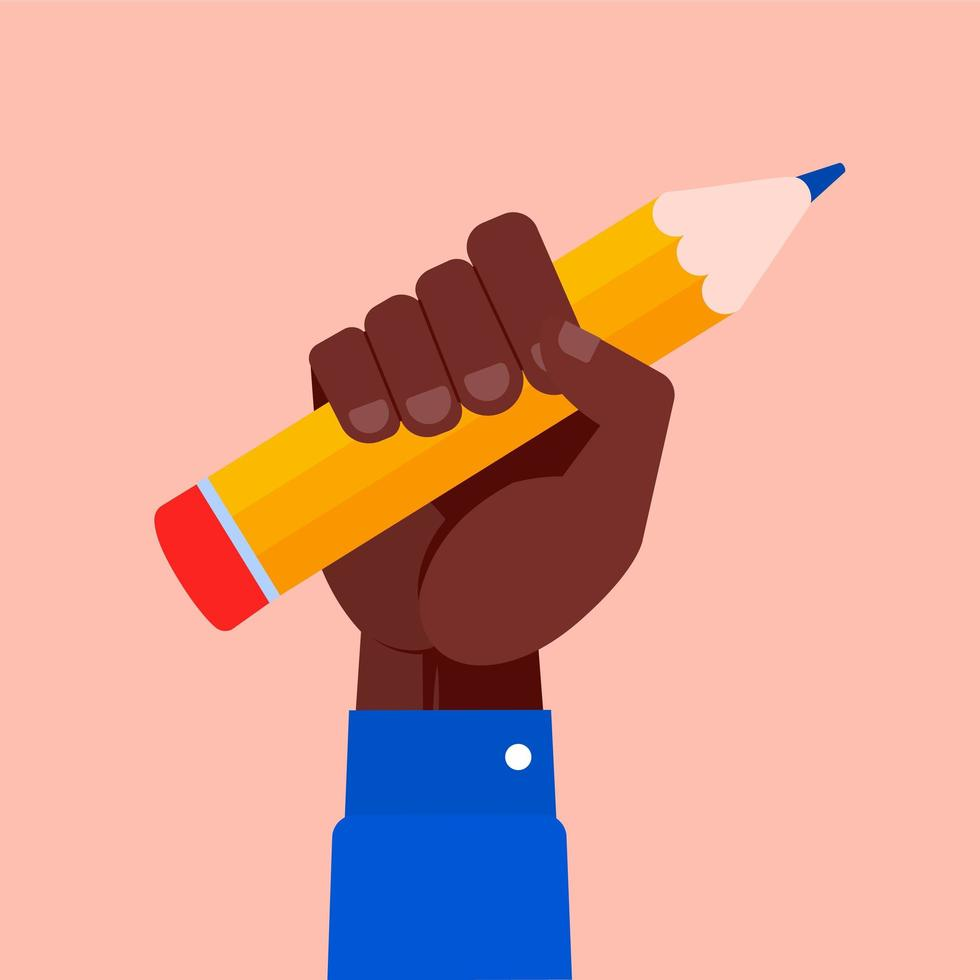 Raised Fist Holding A Pencil vector