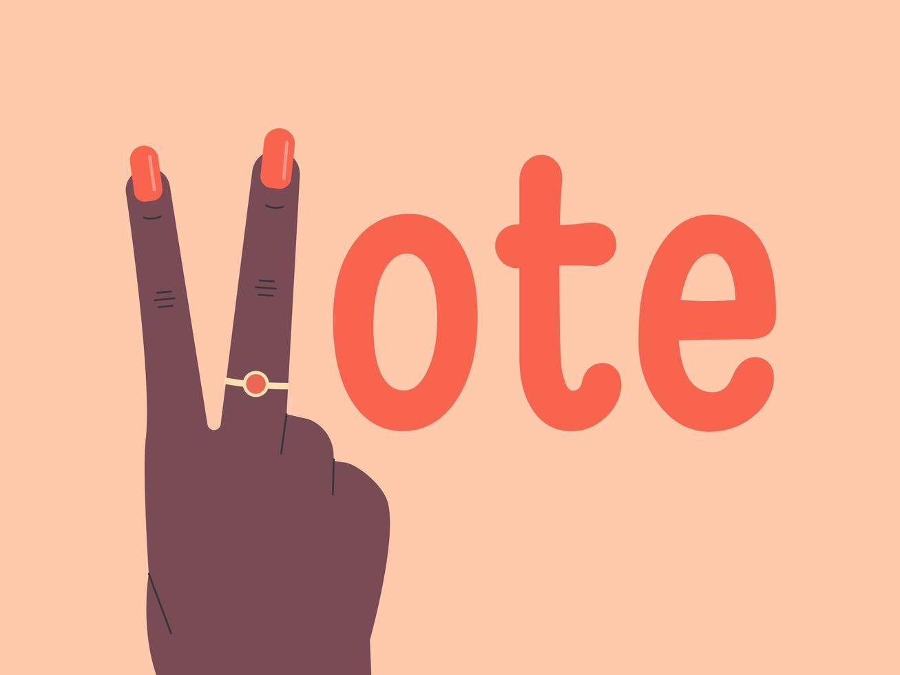 Victory Hand Vote Lettering vector