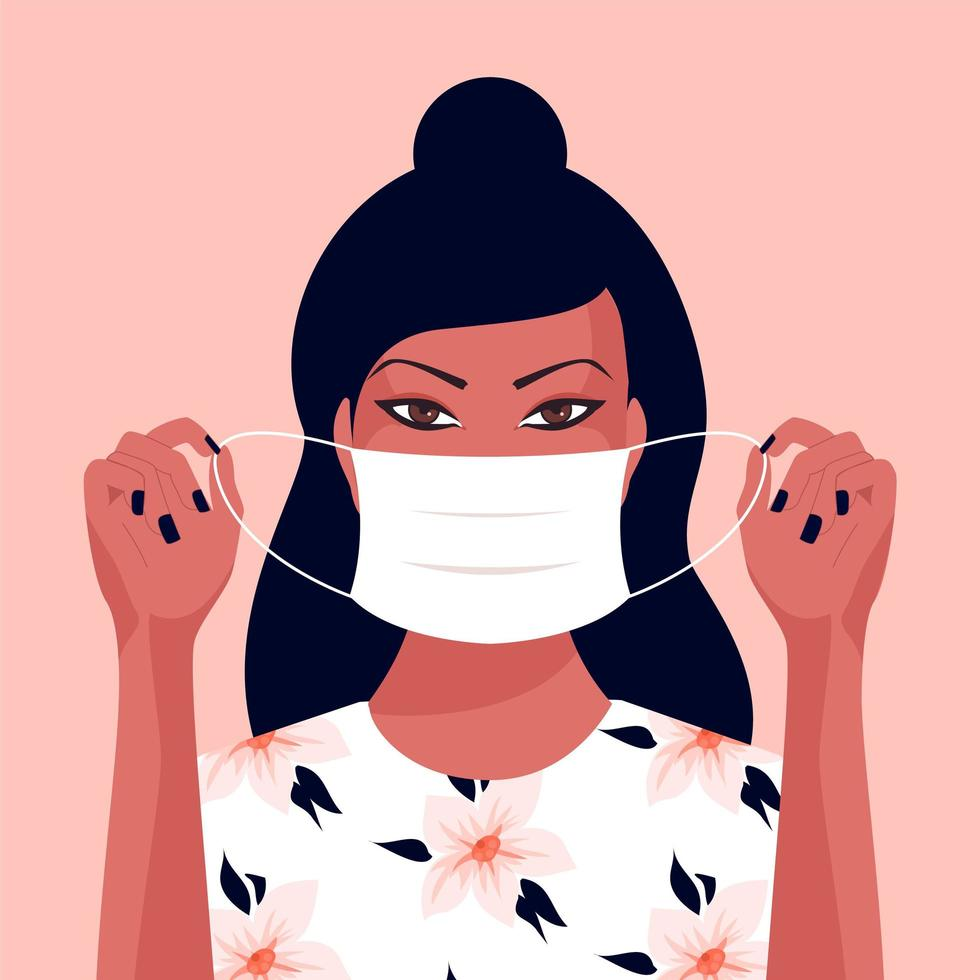 Young Asian Woman Putting On a Face Mask vector
