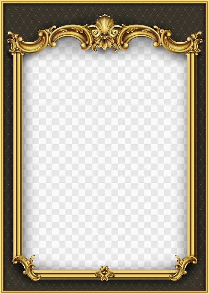 marco dorado ornamental con patrón vector
