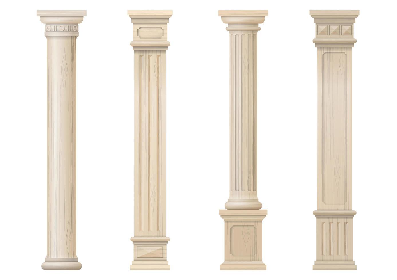 Set vintage light colored wood carved columns vector