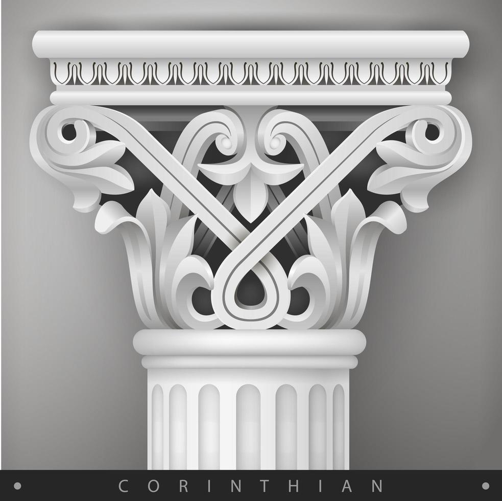 Stone capital of the oriental column vector
