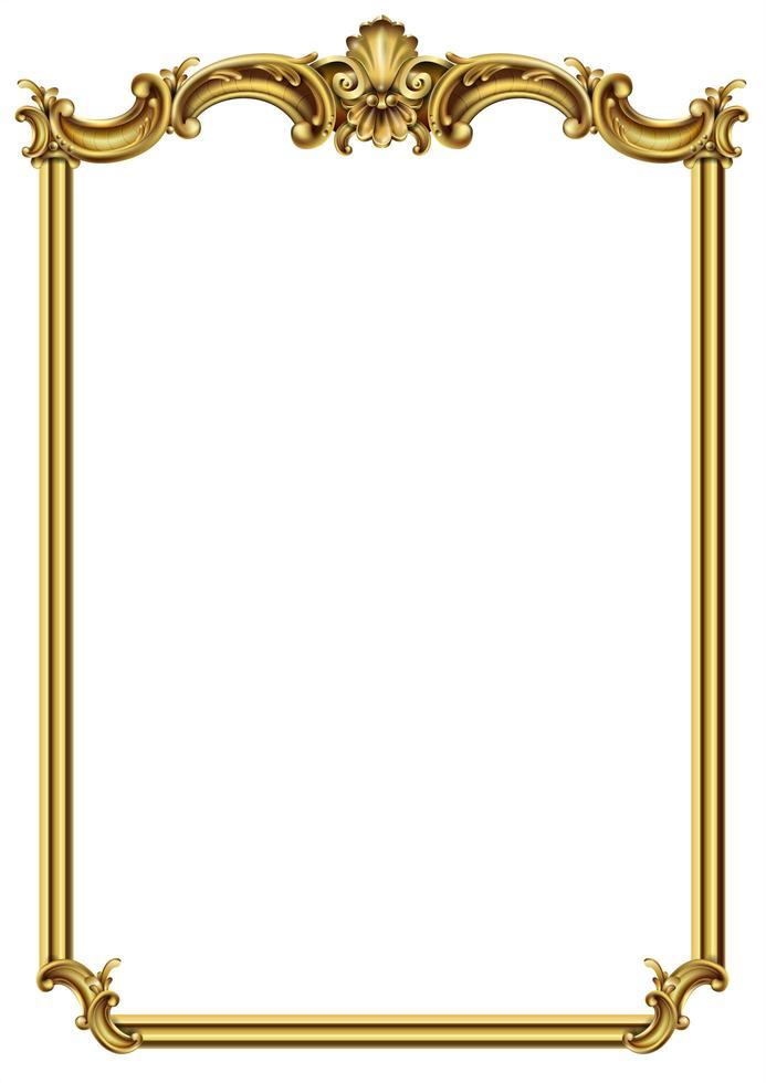 marco barroco rococó de oro vector