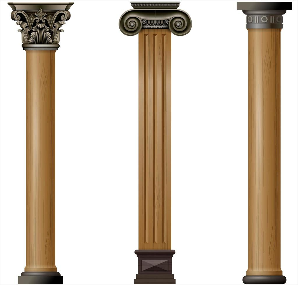Set of classic wood columns with metallic details vector