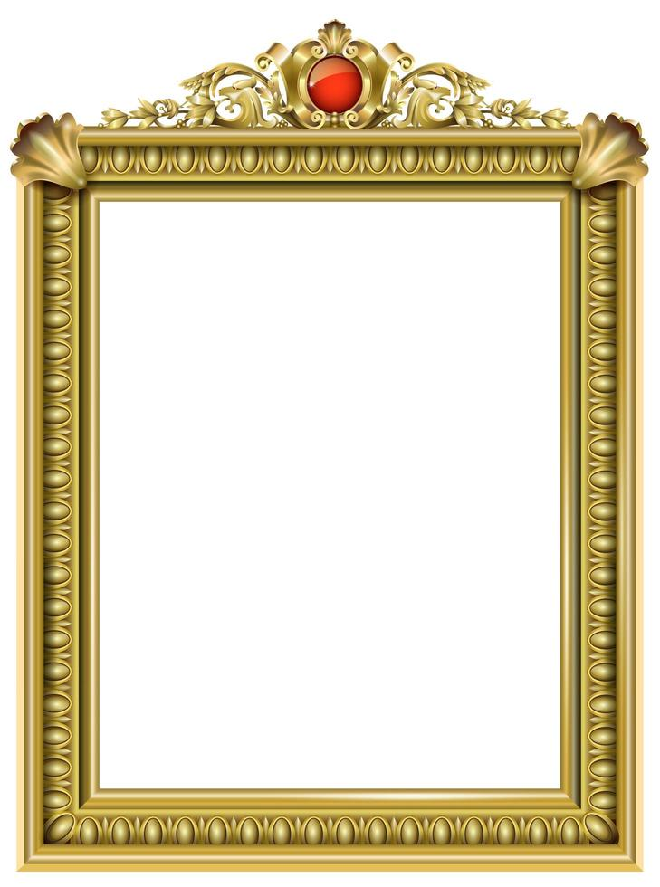 Golden classic baroque frame with red jewel vector