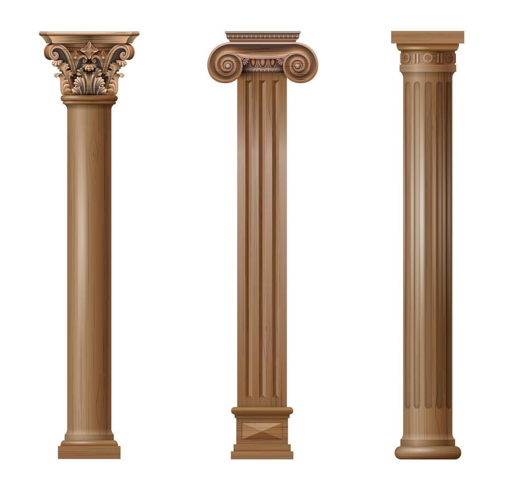 columnas arquitectónicas talladas en madera clásicas vector